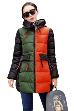 Womens Long Sleeve Hooded Color Block Print Cotton-padded Coat Green