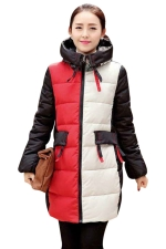 Womens Long Sleeve Hooded Color Block Print Cotton-padded Coat Red