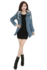 Womens Long Sleeve Hooded Color Block Cotton-padded Coat Blue
