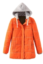 Womens Long Sleeve Hooded Color Block Cotton-padded Coat Orange