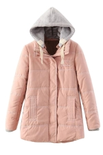 Womens Long Sleeve Hooded Color Block Cotton-padded Coat Pink