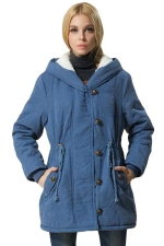 Womens Plain Long Sleeve Hooded Tunic Cotton-padded Coat Blue