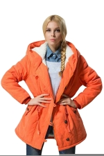 Womens Plain Long Sleeve Hooded Tunic Cotton-padded Coat Orange