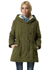Womens Plain Long Sleeve Hooded Tunic Cotton-padded Coat Green