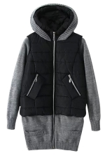 Womens Long Sleeve Hooded Knit Spliced Zipper Cotton-padded Coat Black
