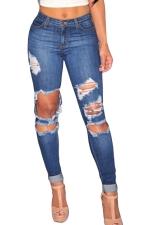 Womens Bleached Ripped High Waist Elastic Denim Leggings Blue