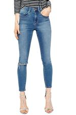 Womens Stylish Washed Bleached Ripped High Waist Denim Leggings Blue