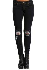 Womens Stylish Knee Ripped Low Waist Denim Leggings Black