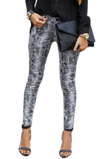 Womens Zebra Leopard Print Middle Waist Elastic Denim Leggings White