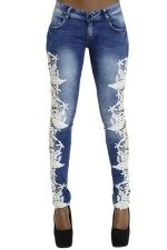 Womens Bleached Lace Patchwork Low Waist Elastic Denim Leggings Blue