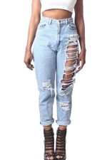 Womens Stylish Ripped Ankle-length Loose Denim Leggings Blue