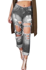 Womens BF Style Bleached Ripped Loose Denim Leggings Gray