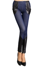 Womens Skinny PU Leather Patchwork Ankle-length Denim Leggings Blue
