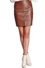 Womens Slim Zipper Back Lined PU Leather Skirt Brown