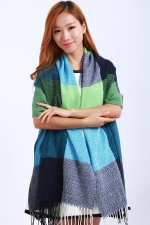 Womens Colored Plaid Tassel Cashmere Warm Long Shawl Scarf Turquoise