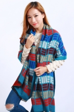 Womens Colored Plaid Pattern Fringe Cashmere Warm Shawl Scarf Blue