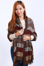 Womens Colored Plaid Pattern Fringe Cashmere Warm Shawl Scarf Coffee