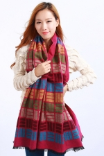 Womens Colored Plaid Pattern Fringe Cashmere Warm Shawl Scarf Rose Red