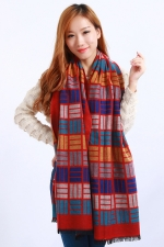 Womens Colored Plaid Pattern Fringe Cashmere Warm Shawl Scarf Red