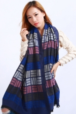 Womens Plaid Pattern Fringe Cashmere Warm Shawl Scarf Navy Blue