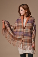 Womens Plaid Tassel Single-breasted Reversible Warm Shawl Scarf Orange