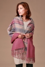 Womens Plaid Tassel Single-breasted Reversible Warm Shawl Scarf Pink