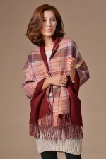Womens Plaid Tassel Single-breasted Reversible Warm Shawl Scarf Ruby