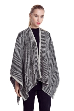 Womens Fringed Geometric Herringbone Plaid Warm Shawl Scarf Gray