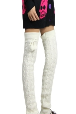 Womens Cable Knit Over Knee Fuzzy Ball Decor Long Stockings White