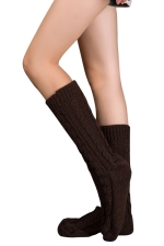 Womens Thick Warm Cable Knit Medium-long Floor Stockings Coffee