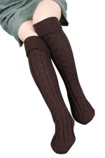 Womens Thick Warm Cable Knit Overknee Floor Stockings Coffee