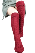 Womens Thick Warm Cable Knit Overknee Floor Stockings Ruby