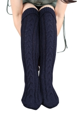 Womens Thick Warm Cable Knit Overknee Floor Stockings Navy Blue