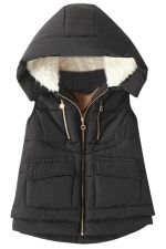 Womens Stylish Lamb Fur Hooded Color Block Zipper Vest Black
