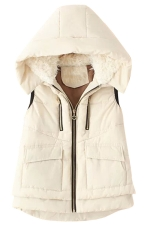 Womens Stylish Lamb Fur Hooded Color Block Zipper Vest Beige White