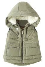 Womens Stylish Lamb Fur Hooded Color Block Zipper Vest Green
