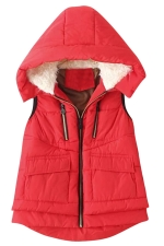 Womens Stylish Lamb Fur Hooded Color Block Zipper Vest Red