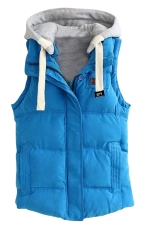 Womens Stylish Detachable Hooded Zipper Quilted Vest Blue