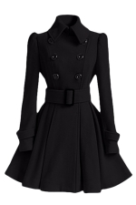 Womens Plain Turndown Collar Double-Breasted Sash Woolen Coat Black