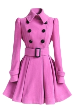 Womens Plain Turndown Collar Double-Breasted Sash Woolen Coat Purple