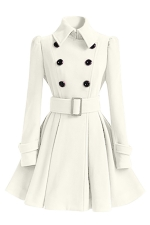 Womens Plain Turndown Collar Double-Breasted Sash Woolen Coat White
