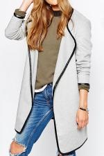 Womens Stylish Plain Long Sleeve Turndown Collar Trench Coat Gray