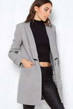 Womens Slim Plain Turndown Collar Long Sleeve Woolen Coat Gray
