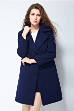 Womens Plain Lapel Double-breasted Mid-long Woolen Coat Navy Blue