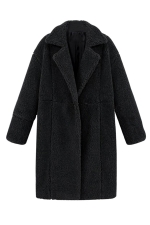 Womens Plain Long Sleeve Turndown Collar Medium-long Overcoat Black
