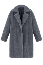 Womens Plain Long Sleeve Turndown Collar Medium-long Overcoat Gray