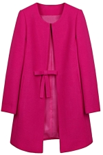 Womens Plain Long Sleeve Double Pockets Bow Decor Woolen Coat Rose Red