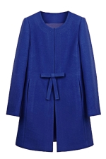 Womens Plain Long Sleeve Pockets Bow Decor Woolen Coat Sapphire Blue