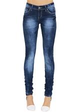 Womens Stylish Bleached Low Waist High Elastic Denim Leggings Blue