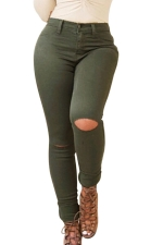 Womens Slimming Ripped High Waist Elastic Denim Leggings Green